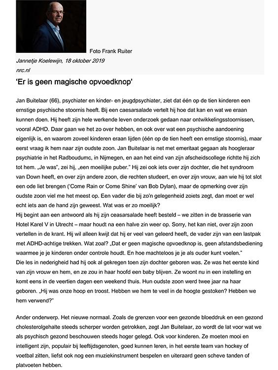 Inverview met Jan Buitelaar